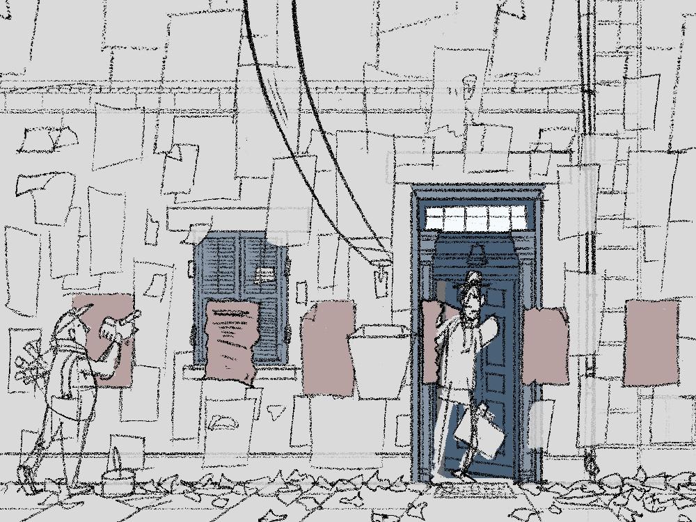 Beispiel Skizze Theodor vor beklebter Hauswand Illustration