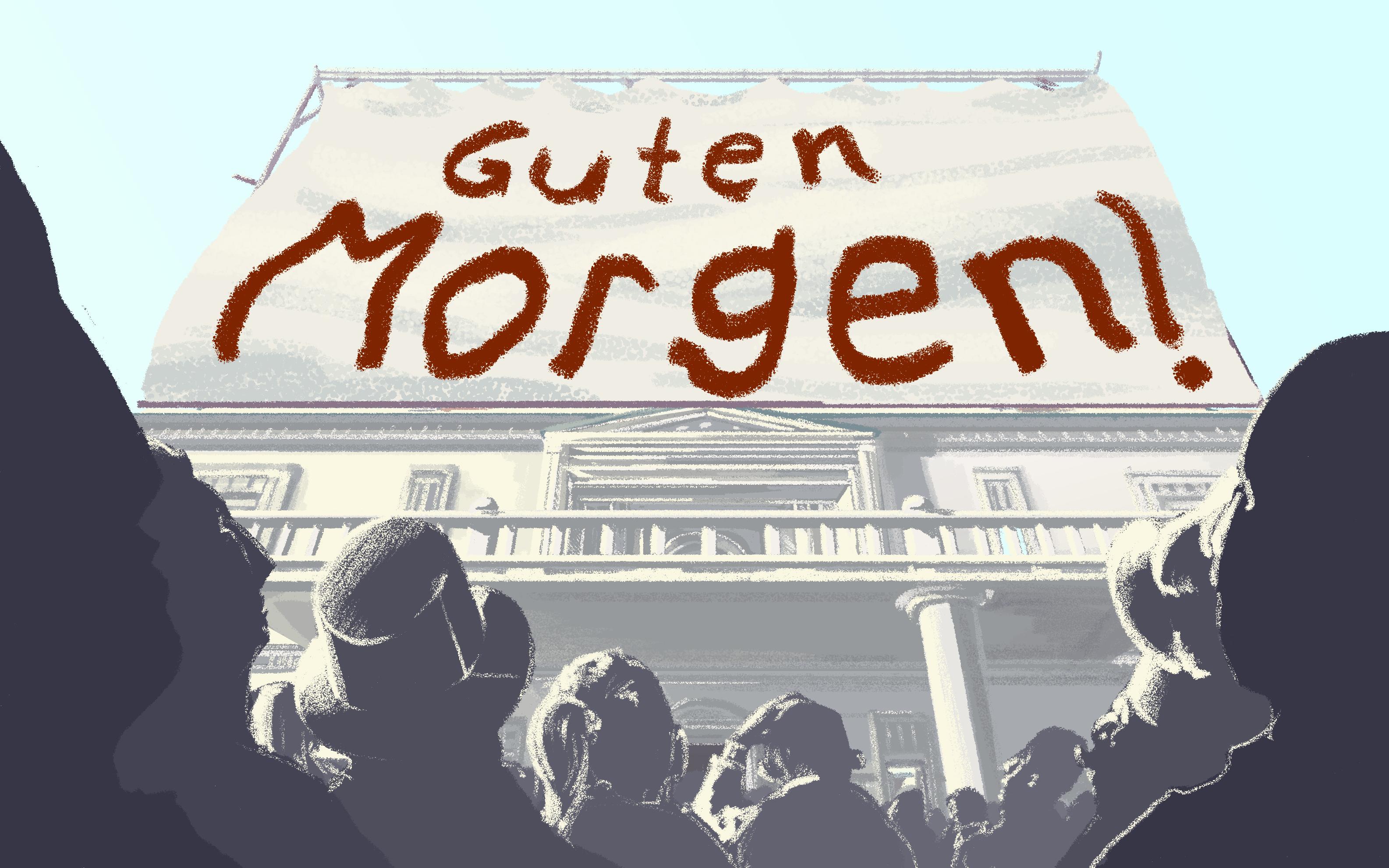 Beispiel Rathaus mit gezogenem Banner Illustration